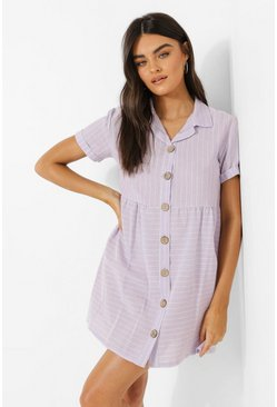 Lilac Stripe Button Through Smock Shirt Dress