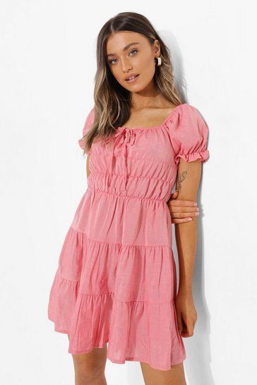 Coral pink Linen Look Tiered Skater Dress