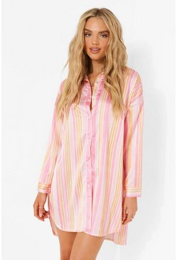Pink Striped Shirt Dress