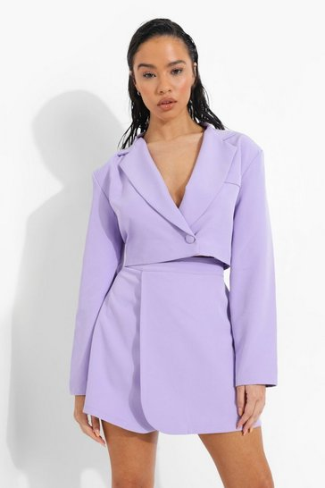 Lilac purple Wrap Front Cropped Tailored Blazer