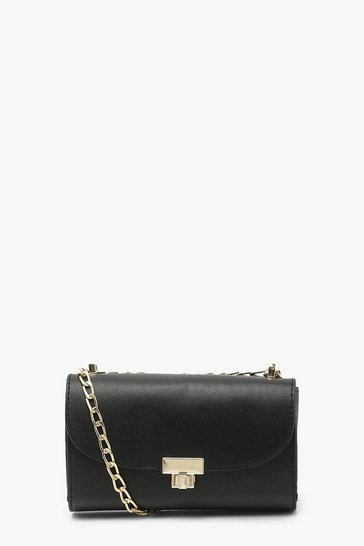 Black Mini Twist Lock Cross Body Bag