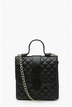 Black Quilted Structured Mini Tote Bag