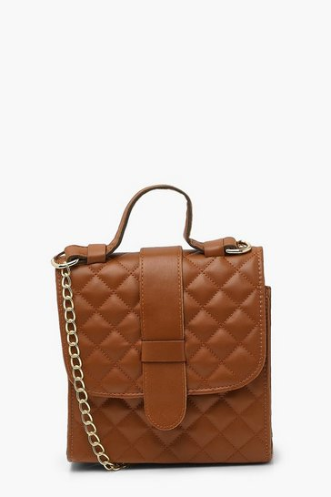 Tan brown Quilted Structured Mini Tote Bag