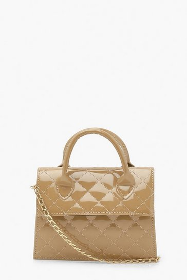 Nude Patent Quilt Structured Cross Body Bag