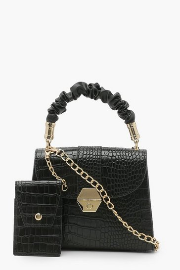Black Cross Body Grab Bag With Coin Purse