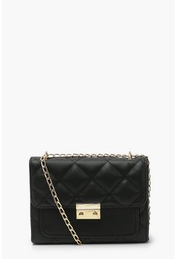 Black Quilted Chain Strap Cross Body Bag