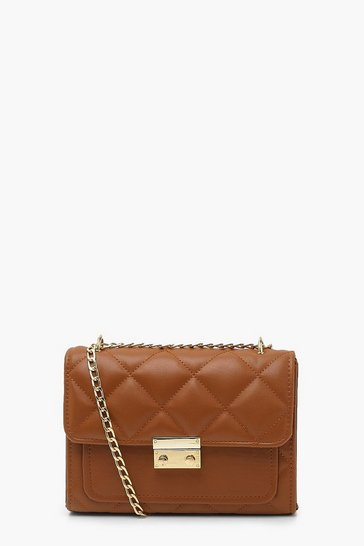 Tan brown Quilted Chain Strap Cross Body Bag