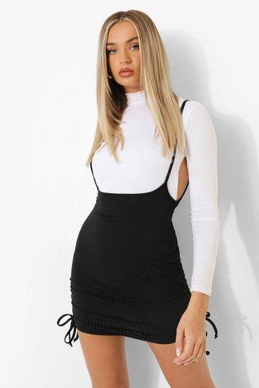 Black Ruched Sides Rib Pinafore Skirt
