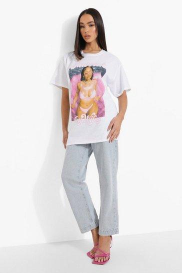 White Saweetie License Print Oversized T-Shirt
