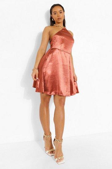 Chocolate brown Satin Chain Detail Skater Dress