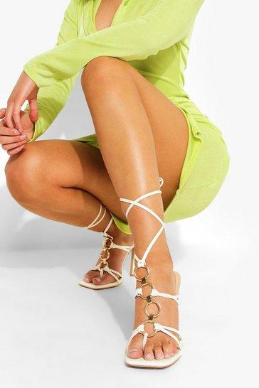 White Ring Detail Wrap Up Shoe