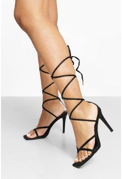 Black Toe Post Strappy Sandal