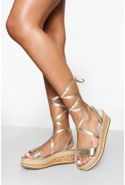 Gold metallic  Flatform Espadrille Tie Up Sandals