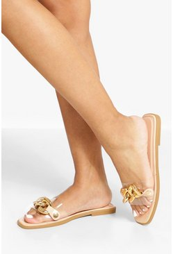 Nude Clear Chain Mule Sandal