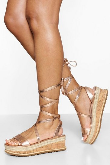 Rose gold metallic  Flatform Espadrille Tie Up Sandals