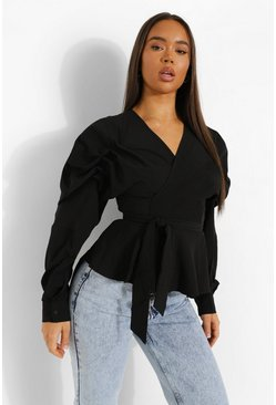 Black Ruched Sleeve Wrap Front Blouse