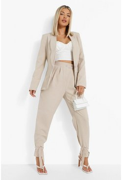 Ivory white Tailored Tie Ankle Relaxed Fit Trousers