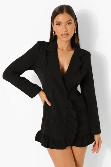 Black Ruffle Front Double Breasted Blazer Dress