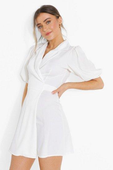 Ivory white Puff Sleeve Wrap Front Blazer Dress
