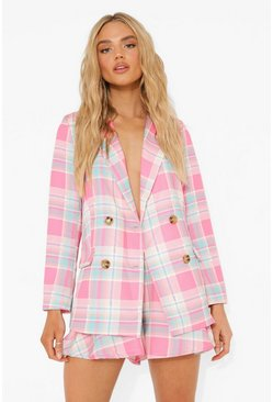 Pink Pastel Check Double Breasted Blazer