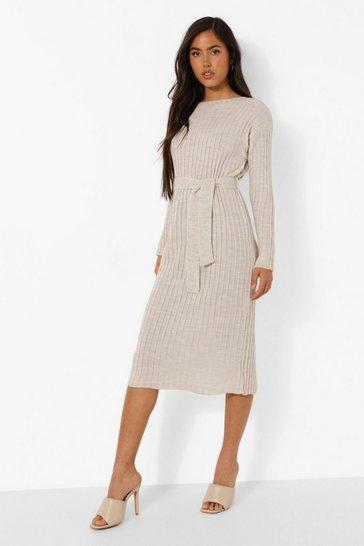 Stone beige Rib Knit Tie Waist Midaxi Dress