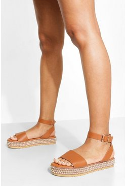 Tan brown Studded Sole Buckle Flatform