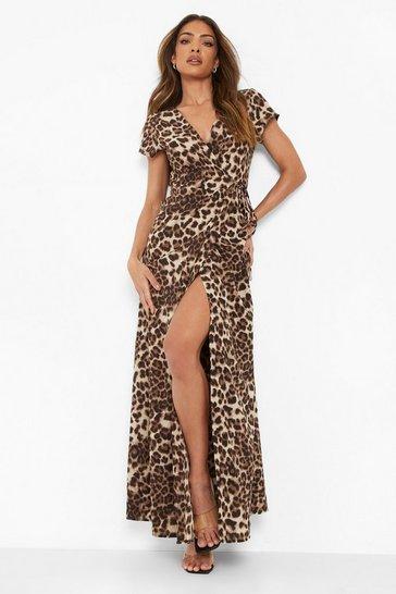 Brown Leopard Print Wrap Front Maxi Dress