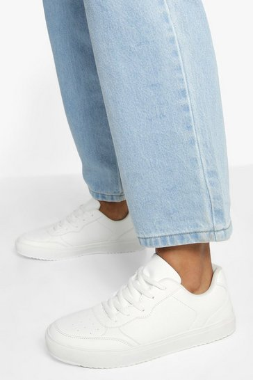 White Low Top Lace Up Trainers