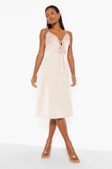 Stone beige Satine Plunge Strappy Midi Dress