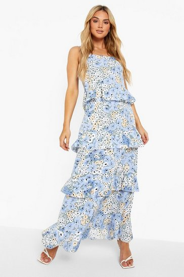 Blue Floral Strappy Tiered Ruffle Maxi Dress