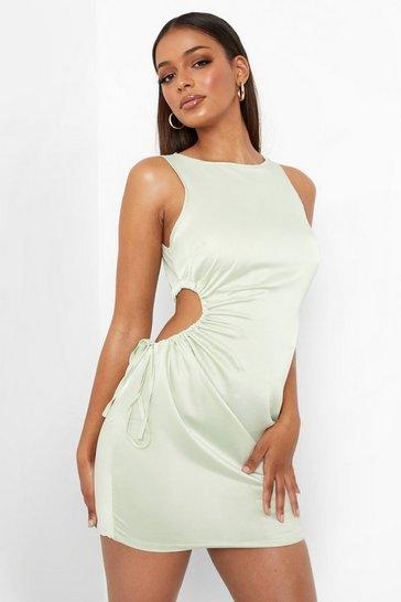 Mint green Green Satin Ruched Cut Out Mini Dress