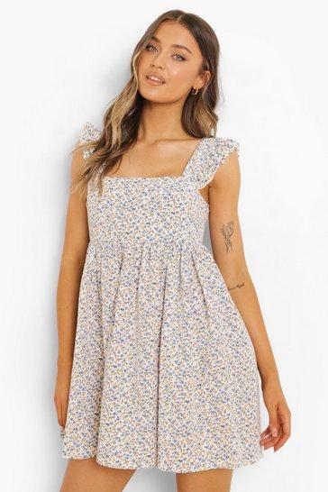 White Ditsy Floral Ruffle SleeveMaxi Dress