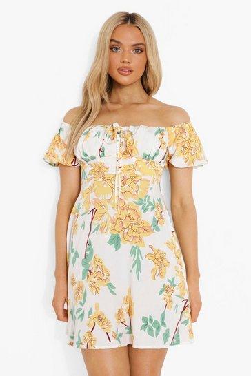 White FloralBardot Puff Sleeve Swing Dress