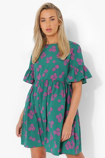 Green Woven Floral Print Smock Dress