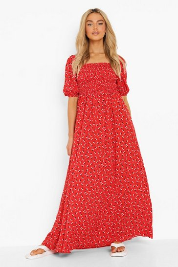 Red Floral Shirred Detail 3/4 Sleeve Maxi Dress