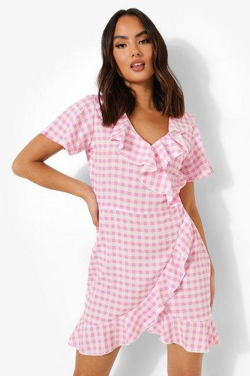 Pink Woven Gingham Print Ruffle Tea Dress