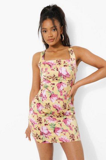 Yellow Floral Print Corset Mini Dress