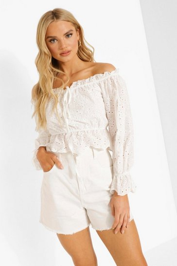 White Broderie Off The Shoulder Top