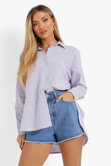 Lilac purple Purple Linen Oversized Shirt