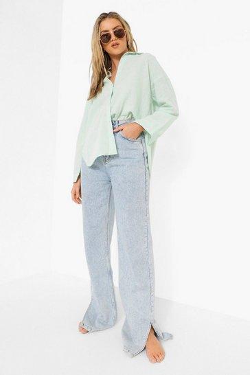 Sage green Green Linen Oversized Shirt
