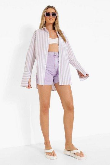 Lilac purple Purple Linen Stripe Contrast Pocket Oversized Shirt