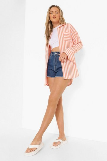 Orange Linen Stripe Contrast Pocket Oversized Shirt