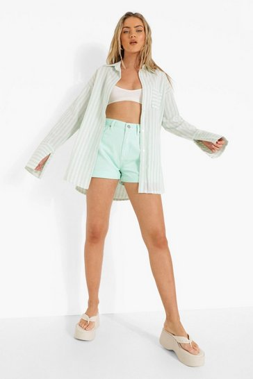 Sage green Green Linen Stripe Contrast Pocket Oversized Shirt