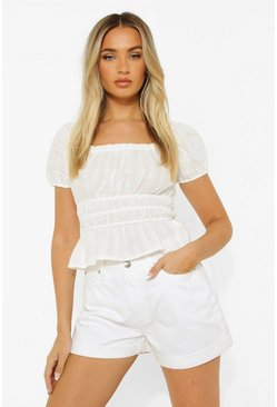 White Cotton Puff Sleeve Top