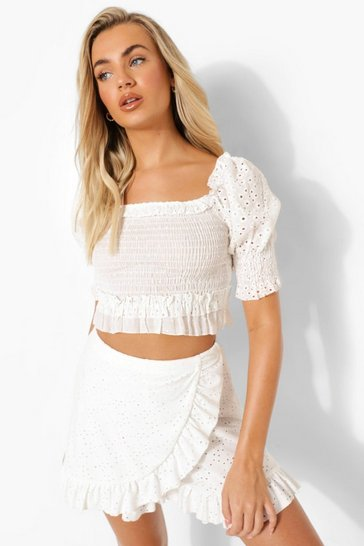 White Broderie Puff Sleeve Shirred Crop Top