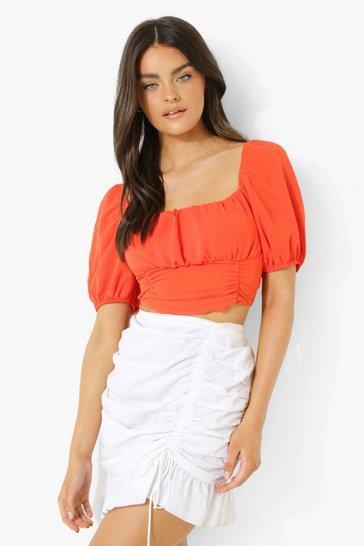 Orange Linen Look Puff Sleeve Top