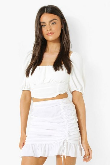 White Linen Look Puff Sleeve Top