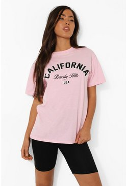 Pale pink California Print T Shirt