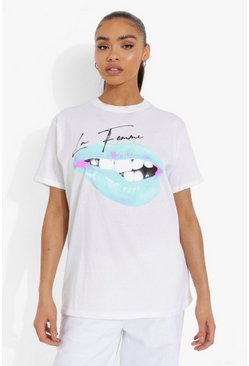 White Lip Print T Shirt