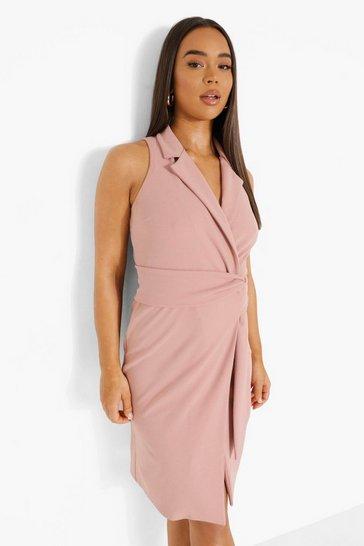 Rose pink Sleeveless Belted Blazer Dress